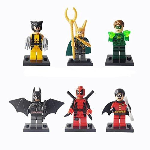 Super Heroes Loki Wolverine Robin Deadpool Batman Minifigures 6pecs. Of Set