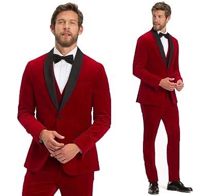 b489062f005e Retro Red Velvet Tuxedo Jacket Men Suit Wedding Suit for Men Slim Fit 3  Pieces Jacket