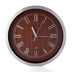 Lingxuinfo Wall Clock, 12 Inch Metal Frame Silent Non-Ticking Wall Clock Decorative Wall Clock for Living Room Kitchen Bedroom(Roman Numerals) - Red Wood Grain