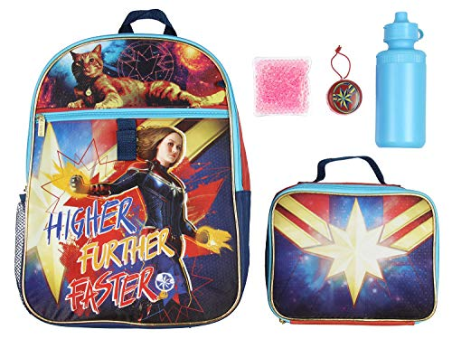 Captain Marvel Backpack Lunch Kit Water Bottle 5 Pc. Mega Set