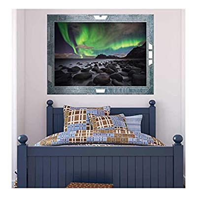 Wall26 - Science Fiction ViewPort - Decal - A View of the Northern Lights - Wall Mural, Removable Sticker, Home Decor - 24x32 inches