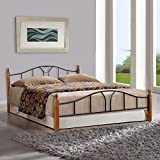 FurnitureKraft Toronto Metal Queen Size Double Bed with Wooden Leg