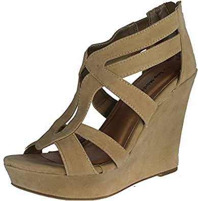 Top Moda Womens Lindy-66 Open Toe Platform Wedge Sandals,Taupe,5