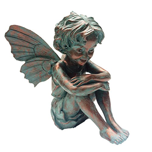Home Styles Caroline Fairy 96108 Large Sitting Statue Bronze Patina, 12