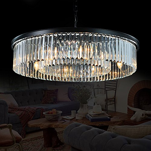 Meelighting Crystal Chandeliers Modern Contemporary Ceiling Lights Fixtures Pendant Lighting for Dining Room Living Room Chandelier D33.5