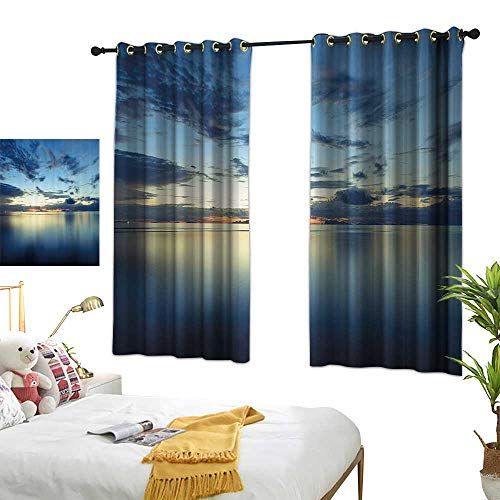 Warm Family Thermal Insulated Drapes for Kitchen/Bedroom Scenery House Decor Long Photo of Dramatic Dusk Sunset Over Calm Peace Tropic Azure Lagoon Ocean Noise Reducing 63