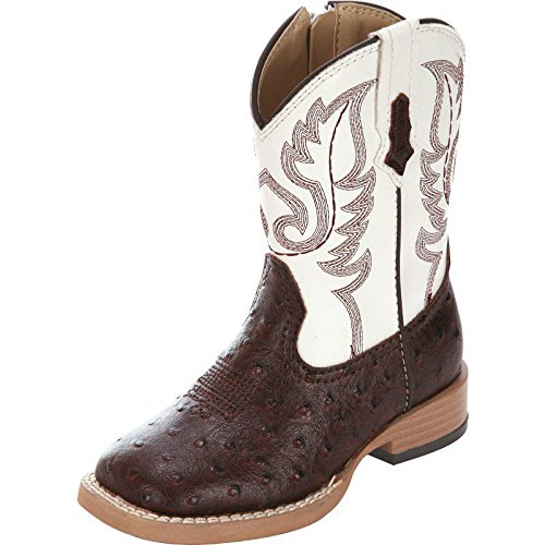 Roper Square Toe Faux Ostrich Western Boot (Toddler/Little Kid),Brown/White,8 M US -