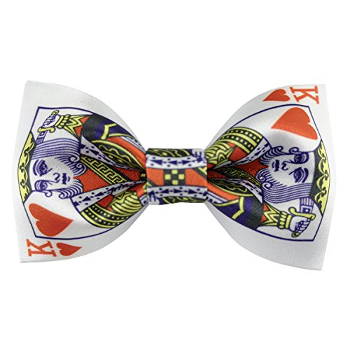 - Poker Suit Playing Cards Bowties Pre-tied Adjustable Bow Tie for Men (Heart King)