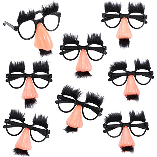 Tigerdoe Groucho Glasses - Disguise Glasses - Funny Nose Glasses - 8 Pairs - Groucho Marx Glasses ()
