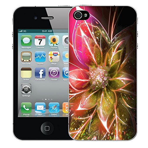 Mobile Case Mate iPhone 4 Silicone Coque couverture case cover Pare-chocs + STYLET - Pink Funky Flowers pattern (SILICON)