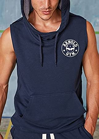Hombre Arnold Gimnasio Culturismo Fitness Outwear sin mangas Azul marino – Sudadera con Capucha para Mujer