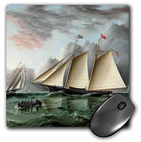 3dRose BLN Sailing Ships and Seascapes Fine Art Collection - The Schooner Mohawk off Sandy Hook Lilghthouse by James Buttersworth - MousePad (mp_126757_1) ()