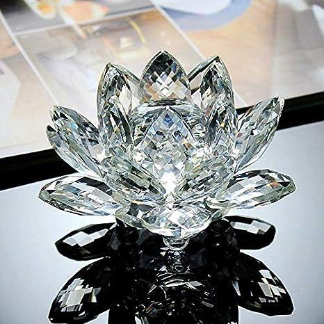 TOOGOO Artisanat De Fleur De Lotus De 80Mm Figurine DOrnement Fengshui De Presse-Papier en Verre Souvenir Cadeaux De Decoration De Fete De Mariage De Maison-Violet