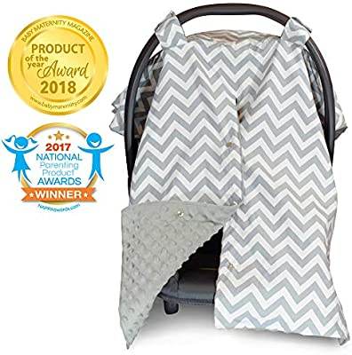 Enjoyable 2 In 1 Carseat Canopy And Nursing Cover Up With Peekaboo Opening Large Infant Car Seat Canopy For Girl Or Boy Best Baby Shower Gift For Creativecarmelina Interior Chair Design Creativecarmelinacom