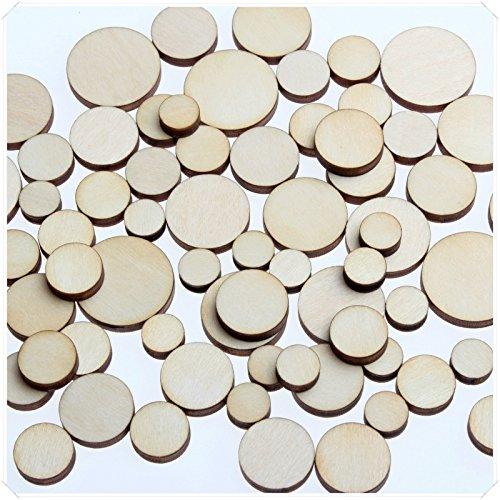 yuhoshop: 100 pcs [Circle Shaped] Mini Mixed Small Tiny Wooden Embellishments - Scrapbooking Shapes for Craft Decor Button