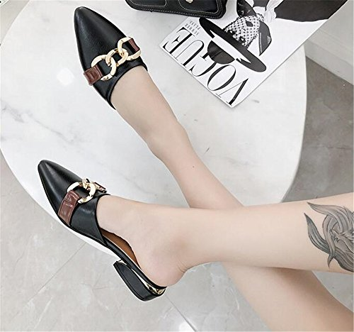 Female Flats Loafers Tie Women Bow Flat Black Shoes pit4tk Shoes Mules Slippers Pointed Half Summer Toe IFC4wPq