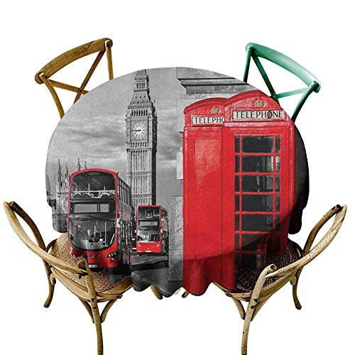 W Machine Sky Fabric Tablecloth London,London Telephone Booth in The Street Traditional Local Cultural Icon England UK Retro, Red Grey Diameter 50
