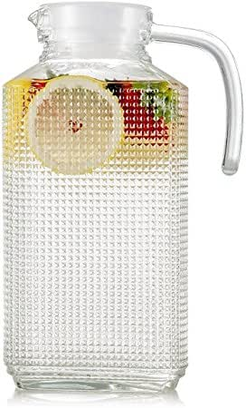 Circleware 66551 Frigo Textured Carafe Glass Drink Pitcher with Handle New Fun Party Entertainment Home Kitchen Glassware for Water, Juice, Beer, Punch, Iced Tea, Cold Drinks & Gifts, 63.4 oz, Clear