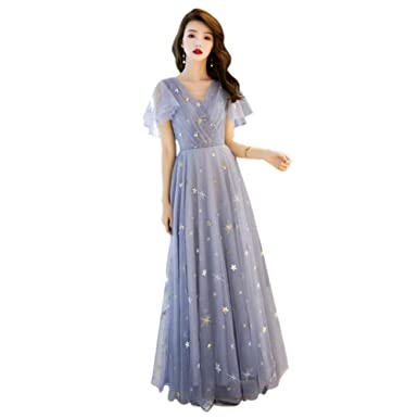 9d0f519aaa9 Drasawee Women s Sweet Starry Long Tulle Evening Dress V Neck Prom Dresses  US0 Grey