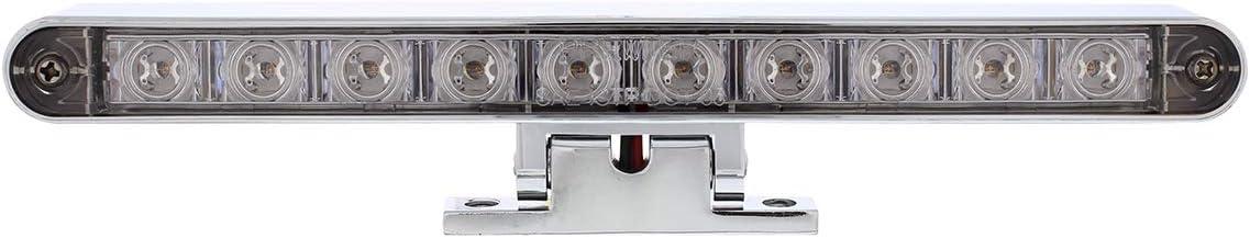 United Pacific 10 LED Dual Function 3rd Brake Light w//Chrome Swivel Pedestal Base Red LED//Clear Len