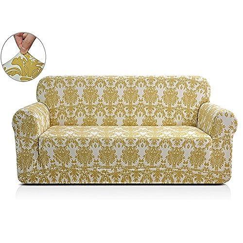 CHUN YI Chunyi Printed Sofa Covers 1 Piece Spandex Fabric Slipcover  (Loveseat, Yellow Flower)