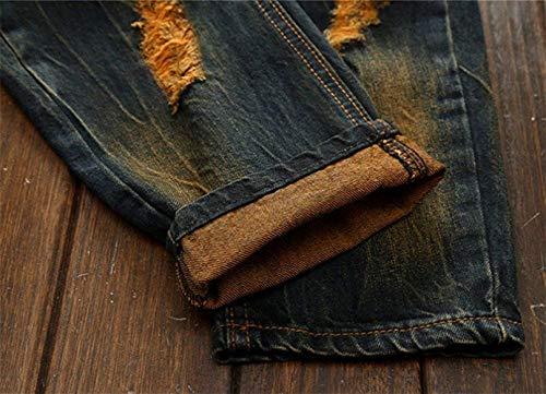 Denim Abiti Taglie Colour Fashion Pantaloni Usedlook Vintage Strappati Fit Hx Skinny Comode Da Uomo Casual Jeans Slim xA4qc