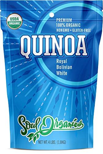 Organic Royal Quinoa - Premium White Bolivian, 4 lbs Bulk - 100% USDA Certified Organic, Gluten-Free, Comes Pre-Washed