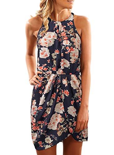 Wrap Chiffon Floral (Asvivid Womens Boho Halter Floral Printed Elastic Waist Chiffon Wrap Belt Casual Ladies Beach Mini Dress M Black)