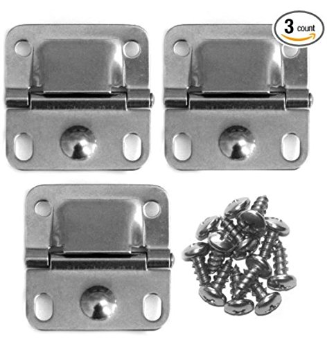 Pack of 3 Coleman Cooler Stainless Steel Hinges & Screws Coleman Cooler Hinges