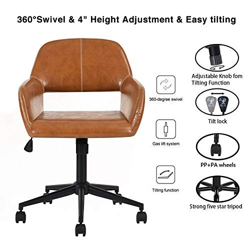 Aingoo Vintage Office Chair Mid Back Swivel/Rolling/Tilting Accent Adjustable Computer Desk Armchair Brown PU Leather Reception Chair for Home Executive CH-03 by Aingoo (Image #3)