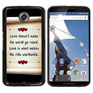 Qstar Arte & diseño plástico duro Fundas Cover Cubre Hard Case Cover para Motorola NEXUS 6 / X / Moto X Pro ( Love Letter Hearts Paper Black Parchment)