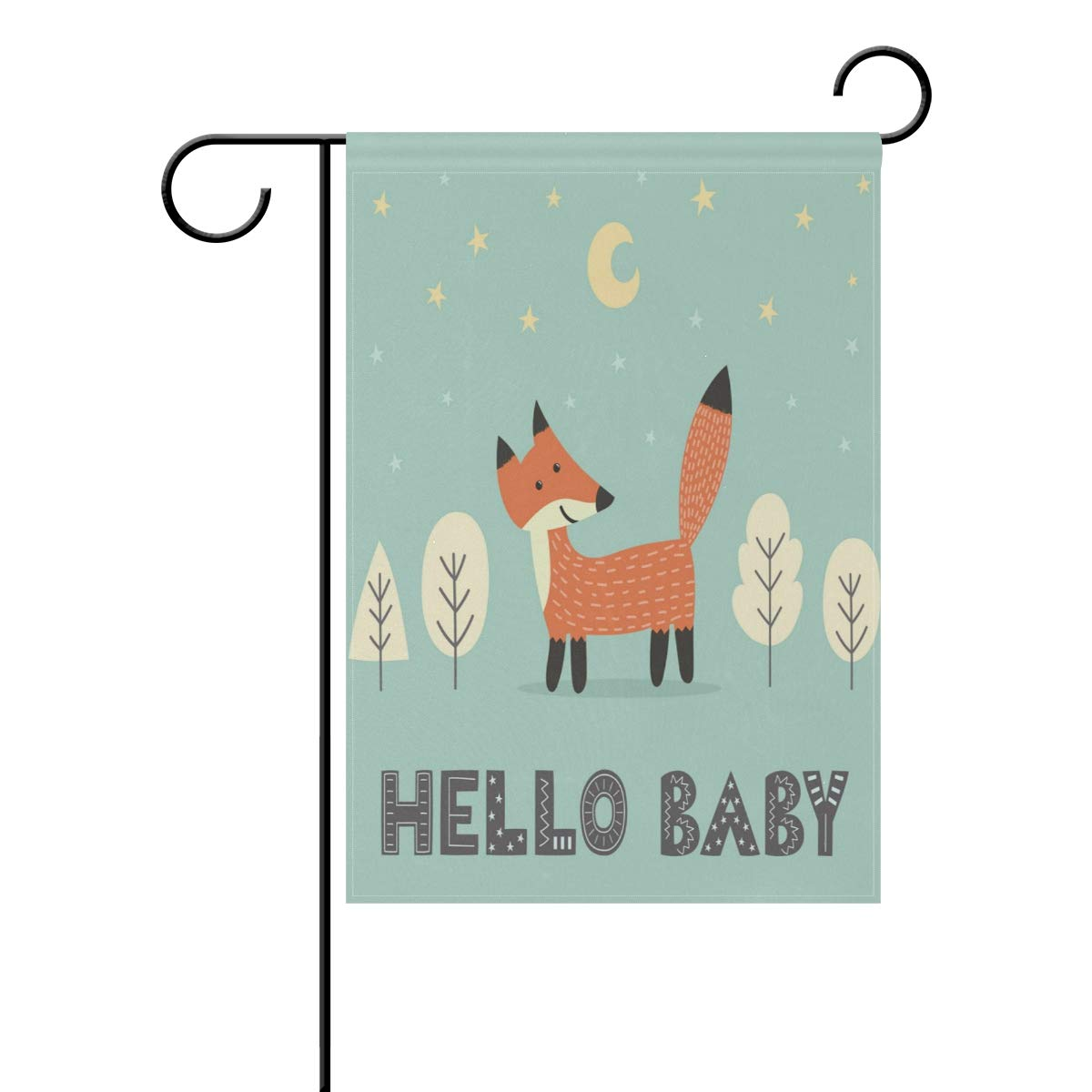 ALAZA Baby Shower Cute Fox Garden Flag Home Polyester Fabric Welcome House Yard Banner,12x18 Inch