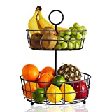 2 Tier Fruit Basket - Regal Trunk & Co. Wire Fruit Bowl or Produce Holder | Two Tier Fruit Basket Stand for Storing & Organizing Vegetables, Eggs, etc | Fruit Basket for Counter or Hanging (2 Tier)