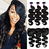 Bleaching Hair Colour Stages - YoungFace Hair Brazilian Body Wave Frontal(16 18 20+14 Frontal) Bundles with Frontal Ear to Ear Lace Frontal Closure with Bundles 8A Brazilian Body Wave Frontal with Baby Hair Natural Black Color