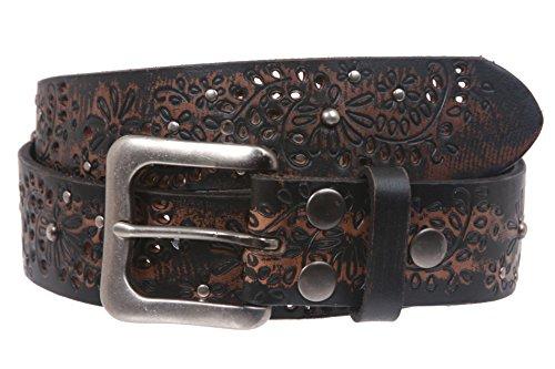Snap On Embossed Vintage Cowhide Full Grain Leather Floral Rivet Perforated Belt (Perforated Floral Belt)