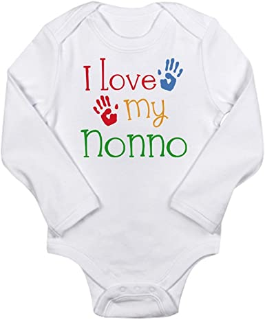 CafePress I Love My Nonna and Nonno Body Suit Cute Long Sleeve Infant Bodysuit Baby Romper Cloud White