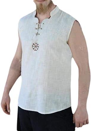 dahuo - Camiseta sin Mangas para Hombre, Estilo Hippie, de algodón y Lino, Informal, con Cordones, para Verano Blanco Blanco L: Amazon.es: Ropa y accesorios