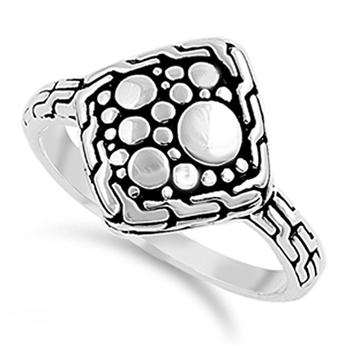 Square Nugget (Oxidized Bead Square Nugget Sun Moon Ring .925 Sterling Silver Band Size 6)