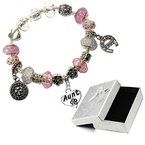 Charm Buddy Aunt Auntie Pink Silver Crystal Good Luck Pandora Style Bracelet With Charms Gift Box by Charm Buddy