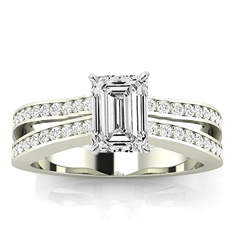 0.9 Ctw 14K White Gold GIA Certified Emerald Cut Contemporary Double Row Split Shank Engagement Ring, 0.5 Ct D E VS1 VS2 Center