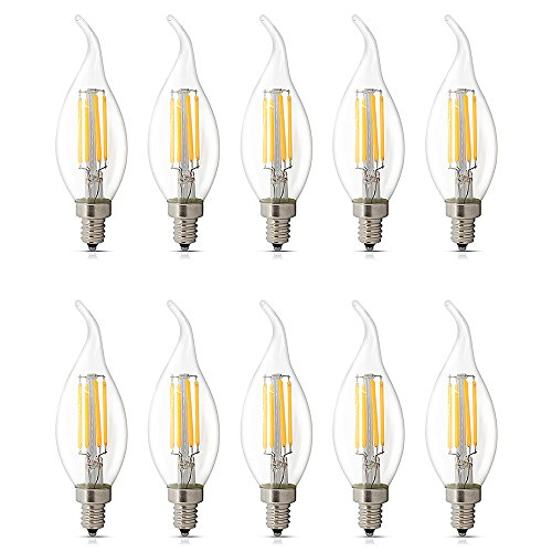 Flame Tip Light Bulb (10 Pack E12 LED Dimmable 4W Warm White 2700K, C35 Bent Tip Flame Shape, Vintage Led Chandelier Light Bulbs, 40w Candelabra Halogen Bulb, LED Candle Filament Bulb Light)