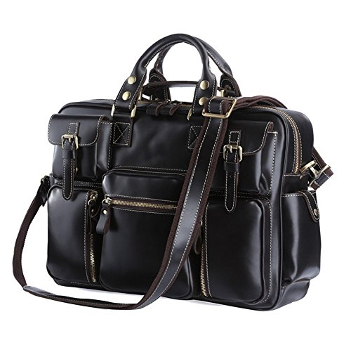 Texbo Men's Multi-Pocket Oil Polish Leather Messenger Briefcase Laptop Bag by Texbo