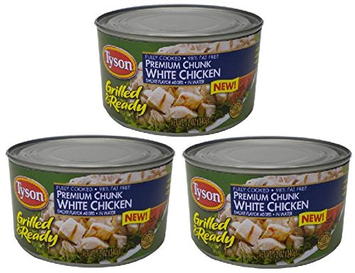 Tyson Fully Cooked Premium Grilled Chunk White Chicken in Water (3 Pack) 12 oz (Tyson Grilled Chicken)