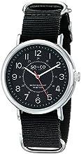 SO & CO New York Men's 5002A.2 SoHo Quartz Black Luminous Dial Black Canvas Watch