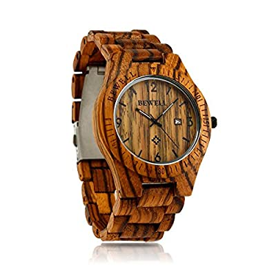 BEWELL Fashion Wood Watch Bamboo Wooden Analog Quartz Date Display Men's Wristwatch