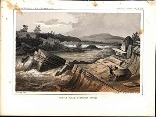 Kettle Falls Vital Native American Fishing 1853 antique color lithograph print