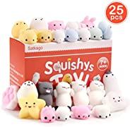 Satkago 25 Pcs Mini Mochi Squishies, Easter Basket Stuffers Gifts Easter Egg Fillers Toys Stress Reliever Toys Party Favors