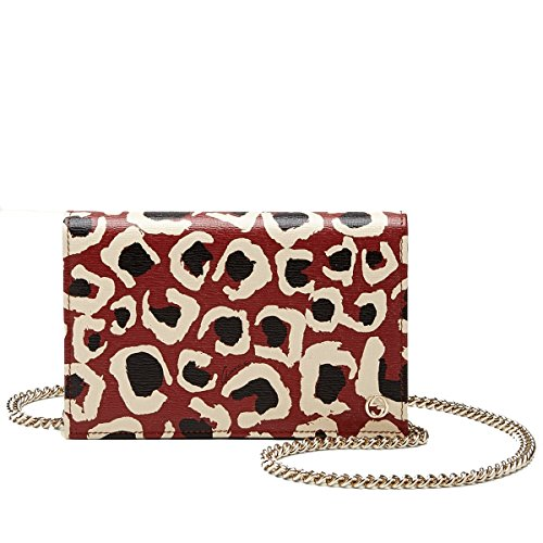 Gucci Red Leopard Print Leather Chain Cross Body Clutch Bag (Gucci Leather Clutch)