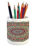 Lunarable Mandala Pencil Pen Holder, Traditional Ethnic Circle Meditation Folk Spiritual Culture Print, Printed Ceramic Pencil Pen Holder for Desk Office Accessory, Turquoise Teal Orange White