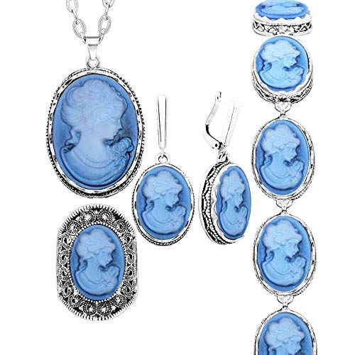 Anstory 4 pcs Lady Queen Cameo Jewelry Sets Vintage Look Necklace Earrings Ring Bracelet Fashion Jewelry (Blue, 8)